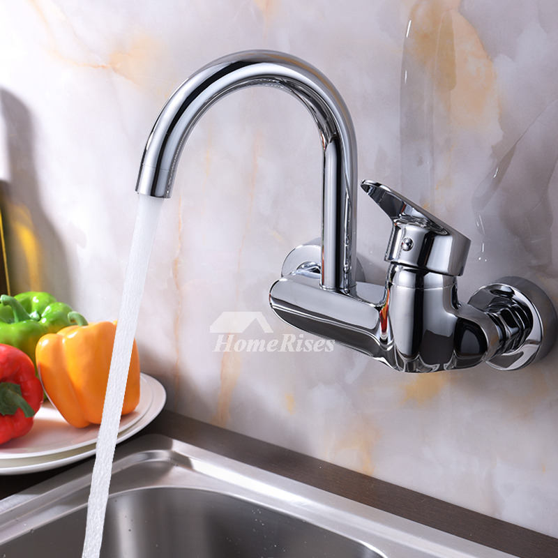 professional kitchen faucet wall mount chrome brass single handle