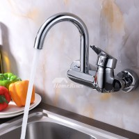 Professional Kitchen Faucet Wall Mount Chrome Brass Single ...
