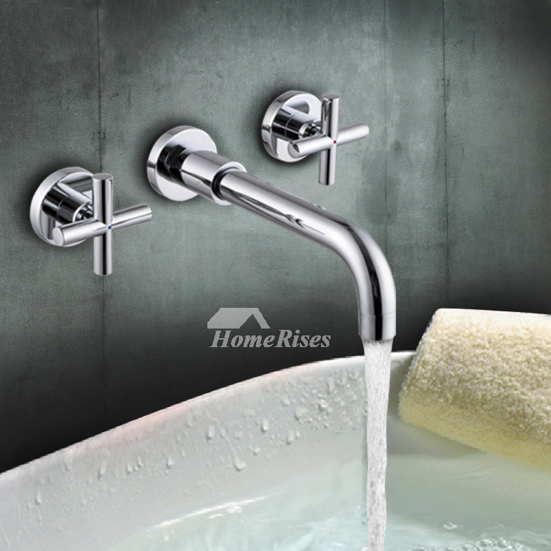 smooth 2 cross handle silver wall mount chrome bathroom faucet