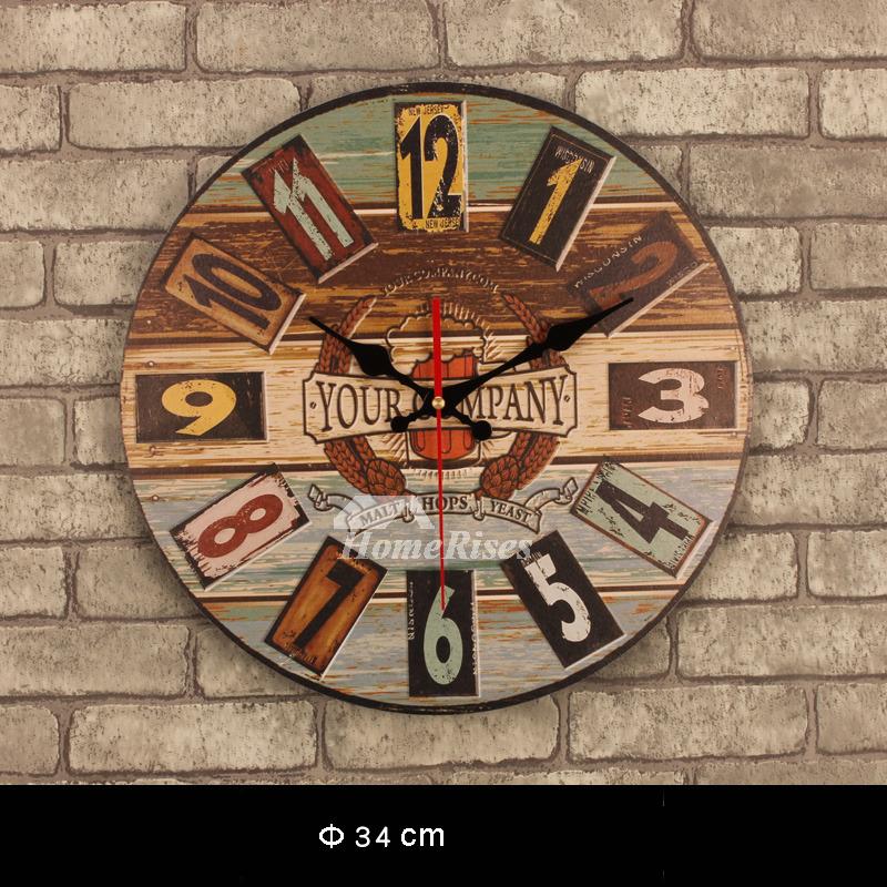 unique kitchen clocks narrow base cabinet decorative wall wooden round 13.5 ...