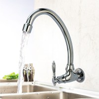Wall Mount Kitchen Faucet Gooseneck Rotatable Single ...