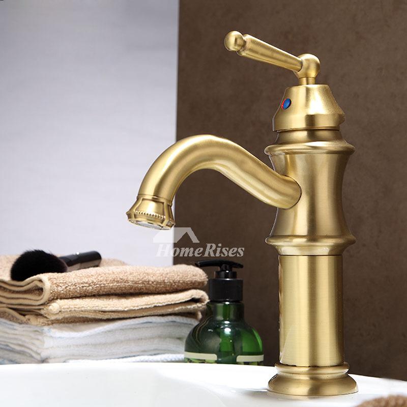 Polished Brass Bathroom Faucet Gold Single Handle Vessel