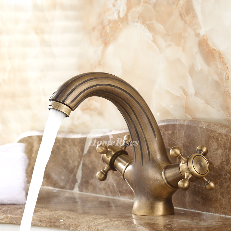 antique brass bathroom faucet cross handle gold centerset brushed