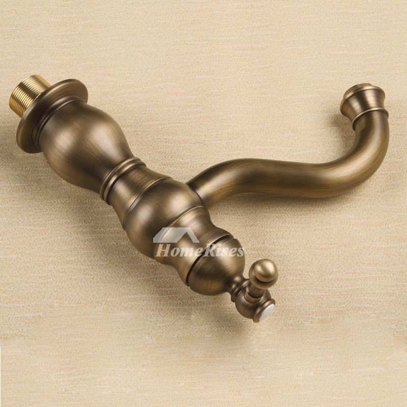 Brushed Gold Bathroom Faucet Antique Single Hole Vintage