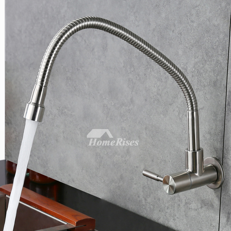 farmhouse kitchen faucet cheap tables and chairs wall mount brushed stainless steel silver