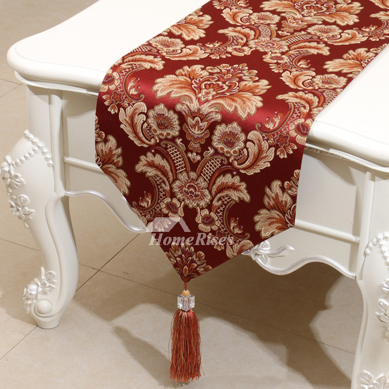 burgundy table runner jacquard