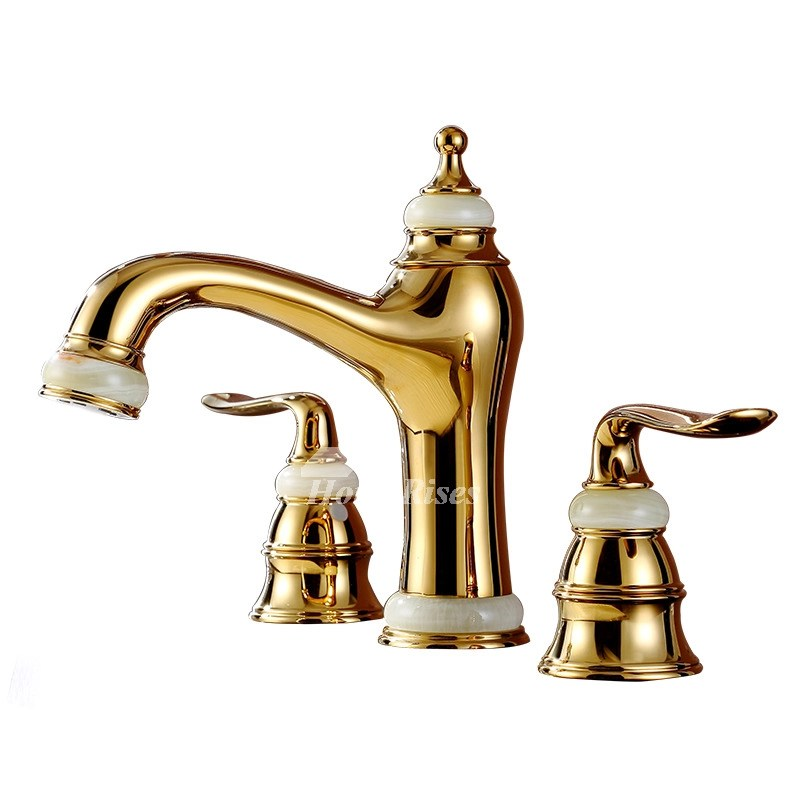 Brass Bathroom Sink Faucet polished widespread gold 3 hole