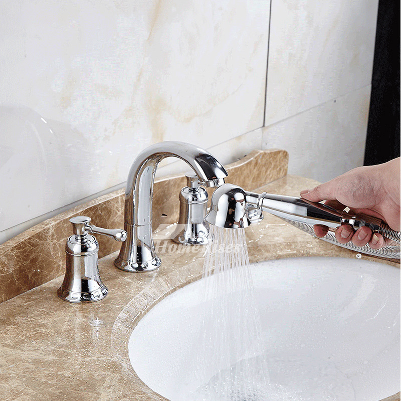 bathtub faucet hand shower spray polished brass gold 2 handle luxury