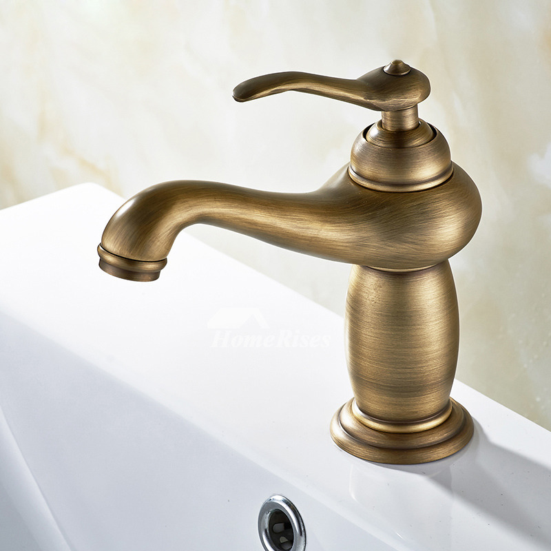 Brushed Gold Bathroom Faucet Antique Brass One Hole Single