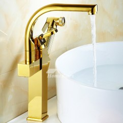 Gold Kitchen Faucet Spraying Cabinets Polished Brass Vessel Pull Out Spray Single Hole