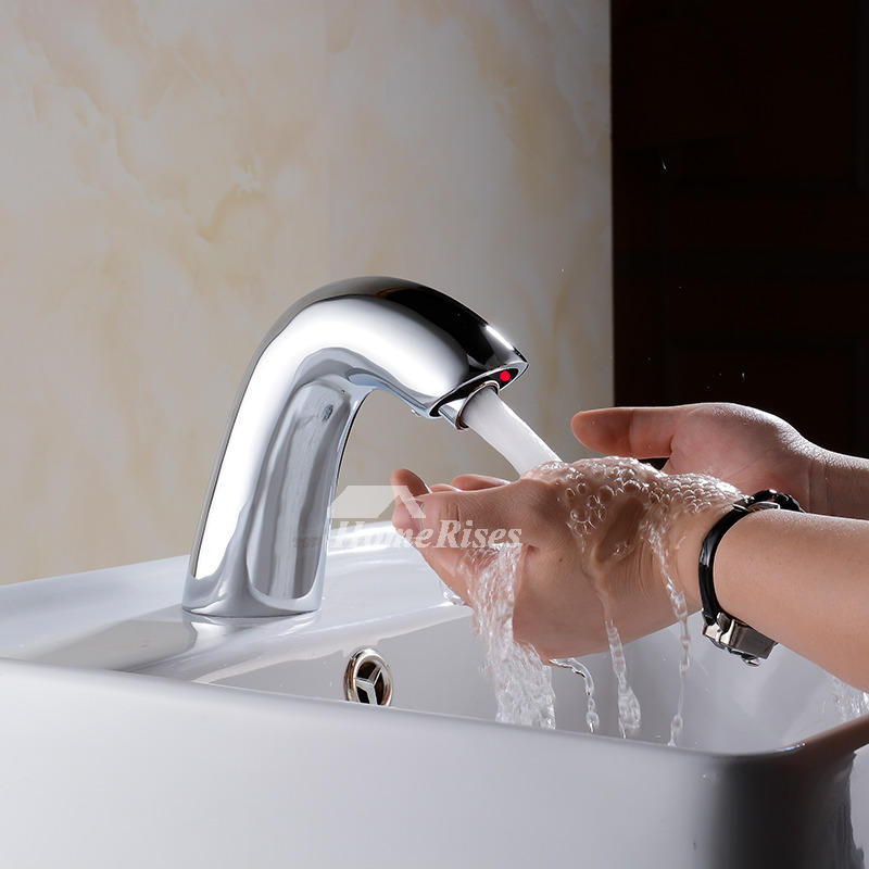 touchless bathroom faucet vessel chrome brass battery operated silver