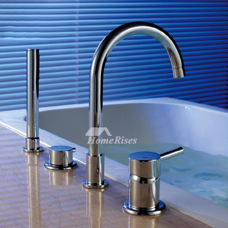deck mount tub faucet gooseneck silver chrome single handle 4 hole