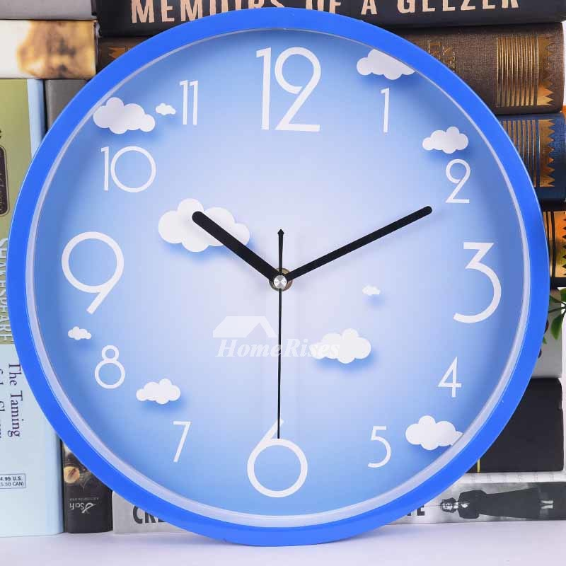 blue kitchen wall clocks planner app round yellow plastic cheap kids unique