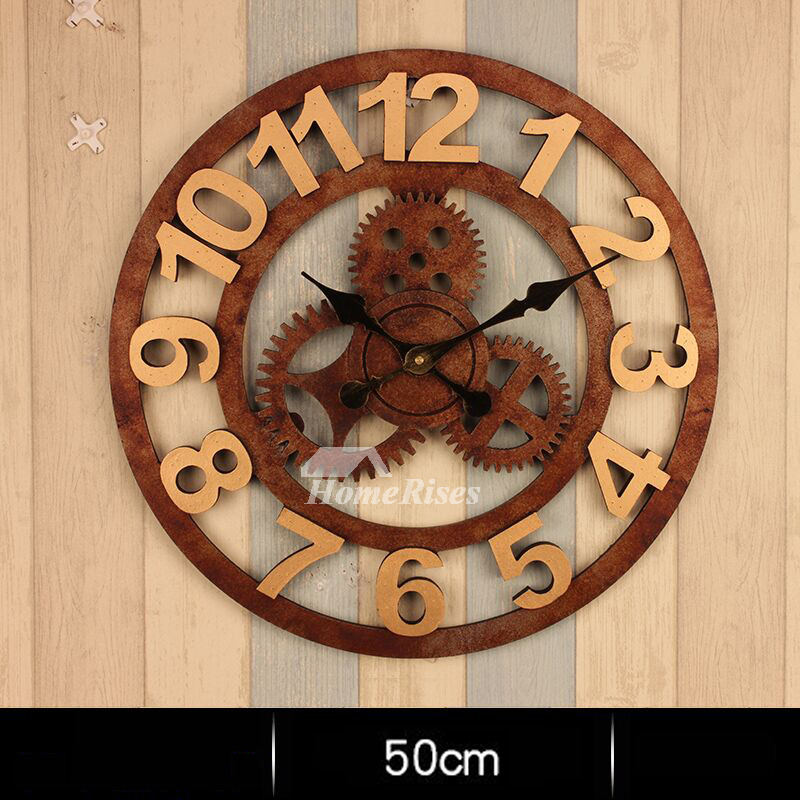 Dining Room 3d Wallpaper Gear Wall Clock Round 20 Inch Large Mechanical Industrial