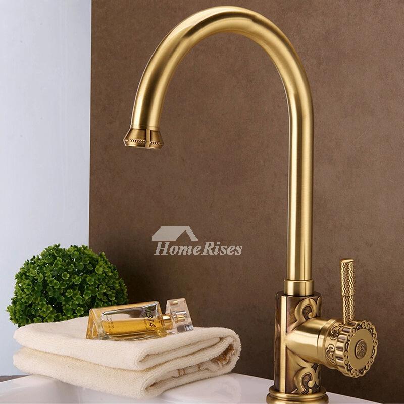 gold kitchen faucet sink frame ltj luxury polished brass gooseneck 15 inch