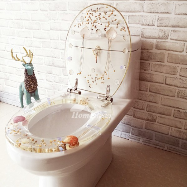 Fancy Seashell Decorative Soft Close Oval Elongated Resin Toilet Seat
