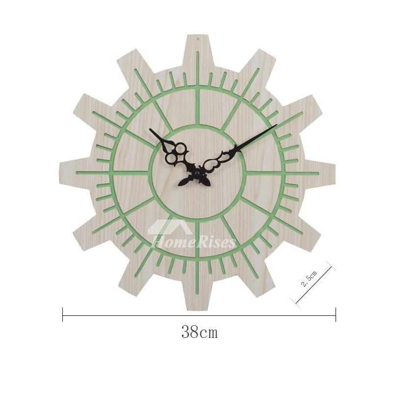 rustic kitchen clock moving island gear wooden orange wall 15 inch big green cheap
