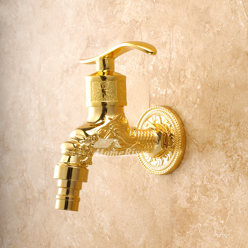 lp outdoor water faucet luxury wall mount cross handle gold polished
