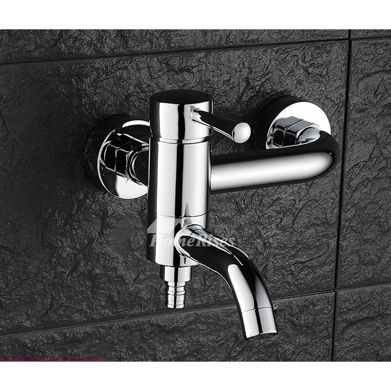 Wall Mount Bathroom Faucet Brass Single Handle For Mop Pool Silver