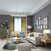 Living Room Wallpaper Textured Gray/Light Yellow Modern ...