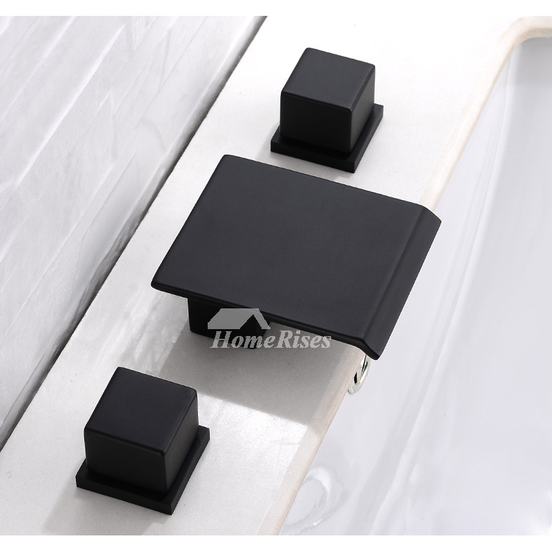 Black Bathroom Faucets 3 Hole OilRubbed Bronze Square Waterfall