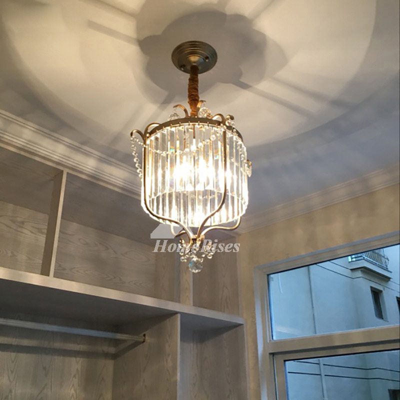 Small Crystal Chandeliers Black Gold Wrought Iron Hanging