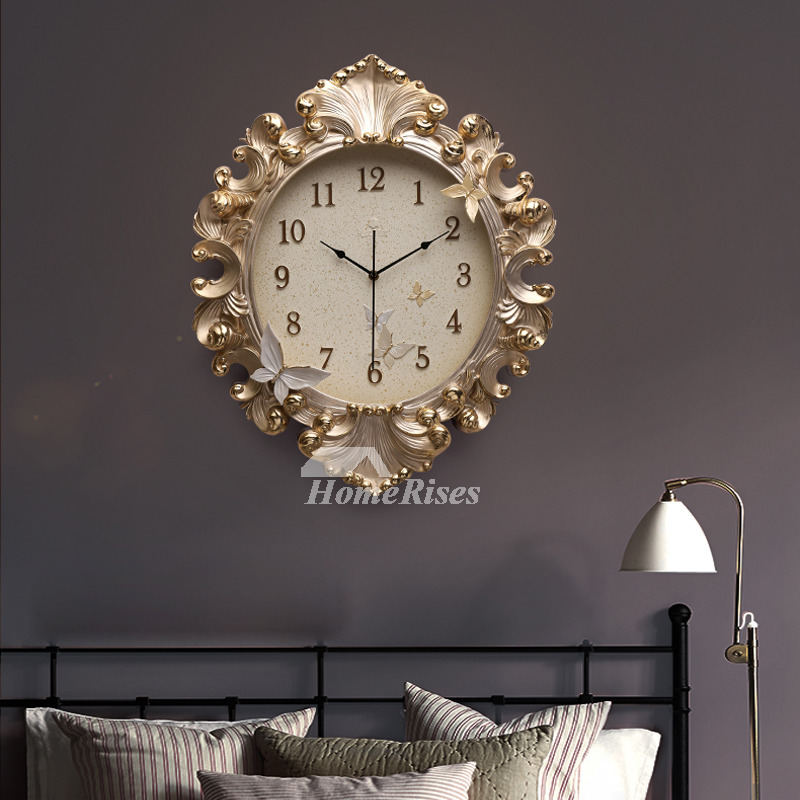 Gold Wall Clock Luxury Resin 18 Inch Large Art Deco Analog Quiet Kitchen