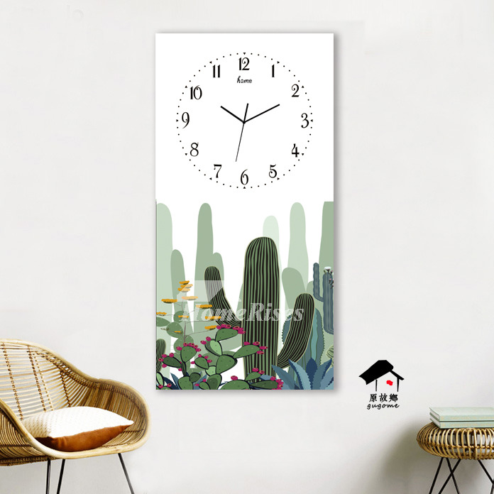 Rectangle Wall Clock Unique Long Glass Living Room Analog