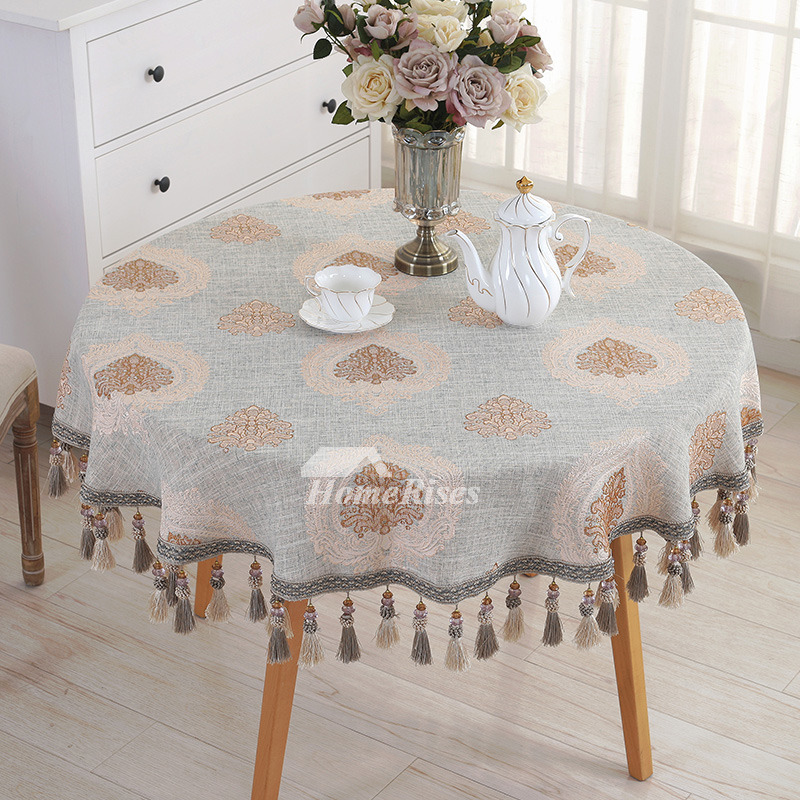 Rustic 70 Inch Round Tablecloth Blue LinenCotton Discount