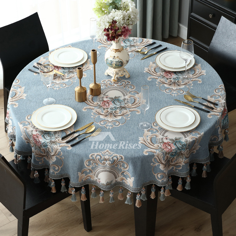 Spring Tablecloths 70 Inch Round BlueBeige Polyester