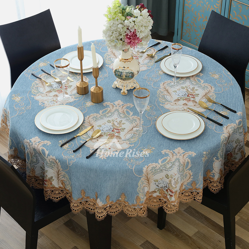 Brown Tablecloth BlueWhiteCoffee Round 70 Inch Polyester