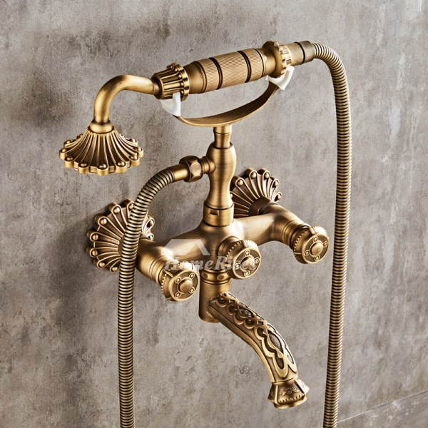 Wall Mount Roman Tub Faucet Clawfoot Antique Brass Gold