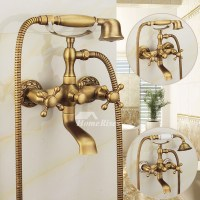 Clawfoot Tub Faucet Wall Mount Bathroom Antique Brass Brushed