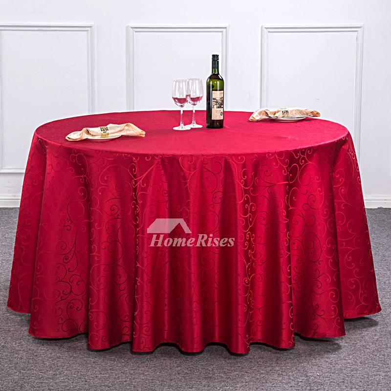 Light BrownBurgundyRedIvory 120 Inch Round Tablecloth Polyester