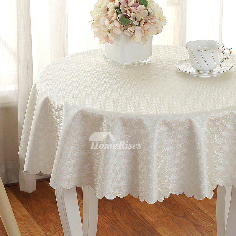 White Tablecloth Round 70 Inch Pu Waterproof Pink Dining