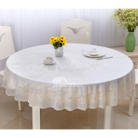 White Tablecloth Round 70 Inch Gold/Coffee PVC Waterproof ...