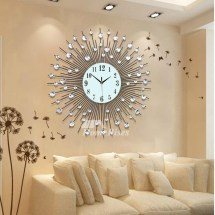 Large Wall Clock Modern Decorative Cool Metal Black Simple