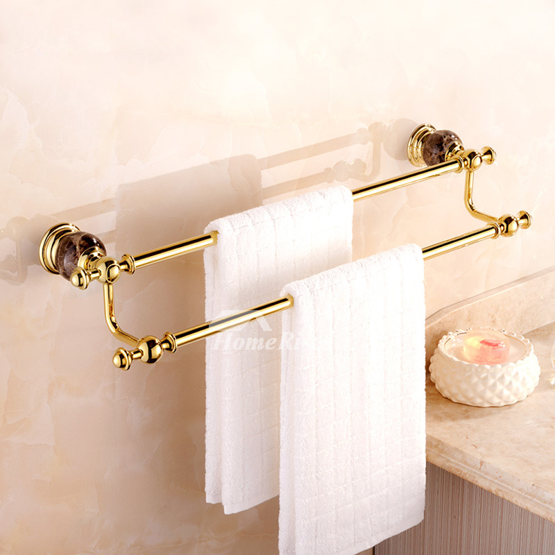 Gold Bathroom Accessories set Polished Brass Marble Luxury ...