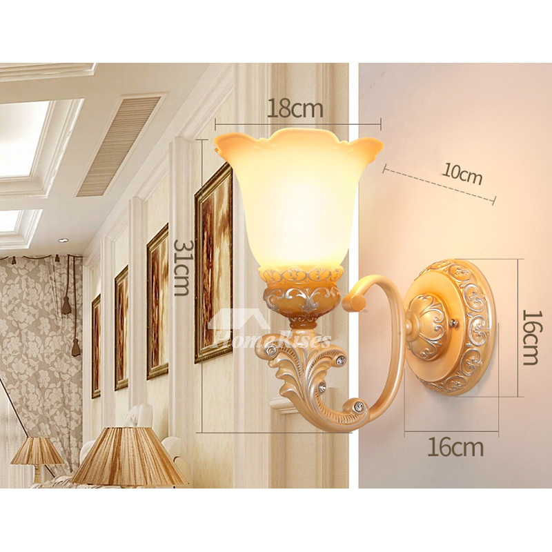 Wall Mounted Bedroom 2 Light Decor Decorative Wall Lighting Fixture Reading Lamps Bathroom Glass Lampshade Decorative