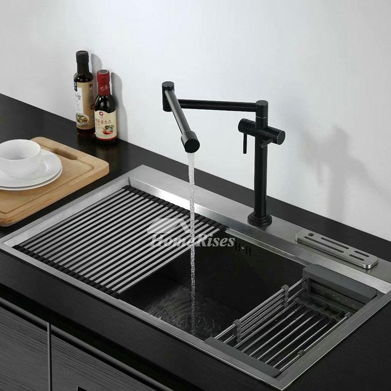 black gold kitchen sink faucet double handle brass pot filler rotatable oil rubbed bronze folding water faucet
