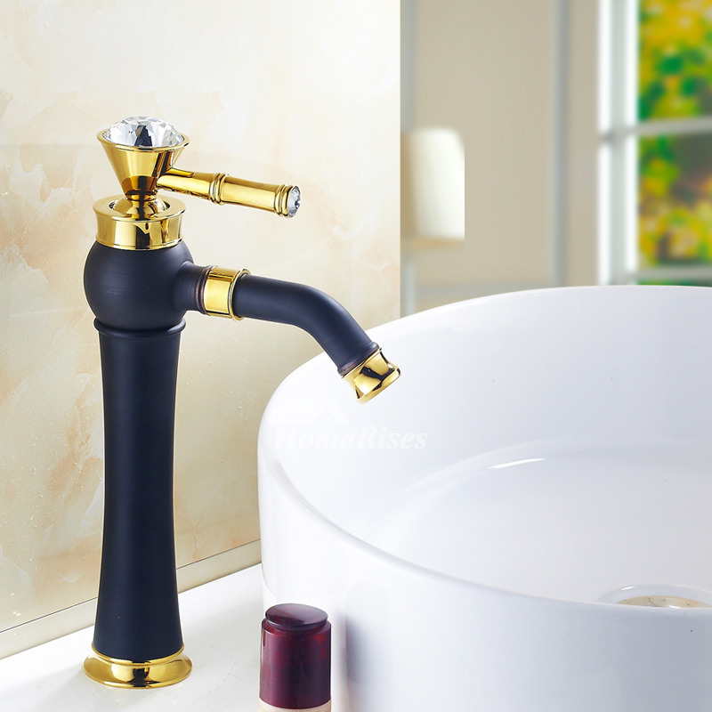 gold copper bathroom faucet matte black tall vessel sink faucet kitchen polished brass crystal 360 rotatable