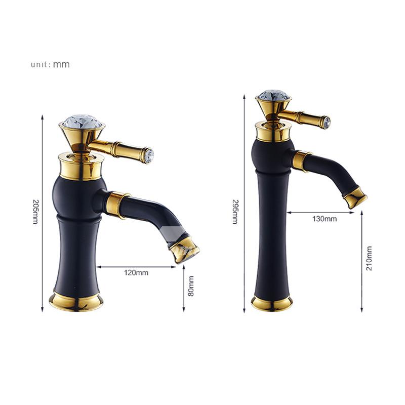 360 rotatable gold retro copper bathroom faucet matte black vessel sink faucet kitchen polished brass crystal