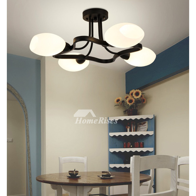 Country Bedroom Ceiling Lights Modern Creative Living Room Lamp Nordic Wrought Iron 4 6 Lighting E14