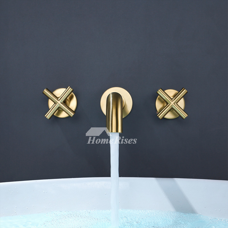 modern bathroom tub faucets wall mount brushed gold black chrome brass 3 hole rotatable cross handles