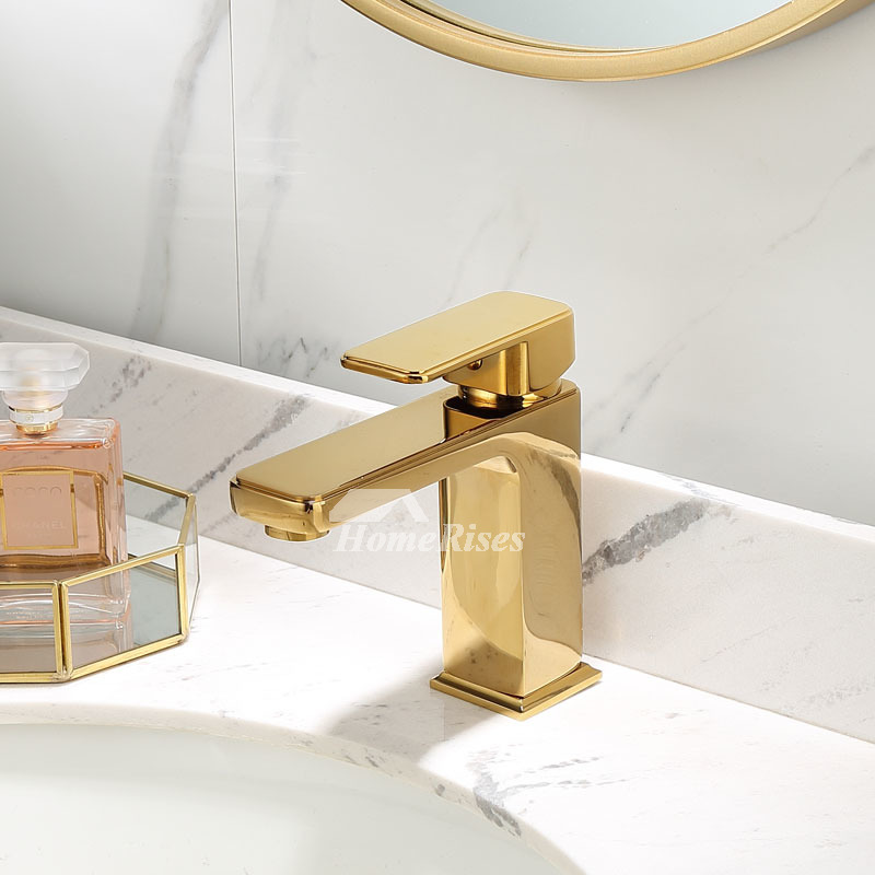 polished gold brass bathroom faucets widespread modern single hole marble handle