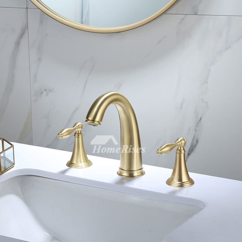 brushed gold bathroom sink faucets modern tub water faucets 3 hole best brass widespread