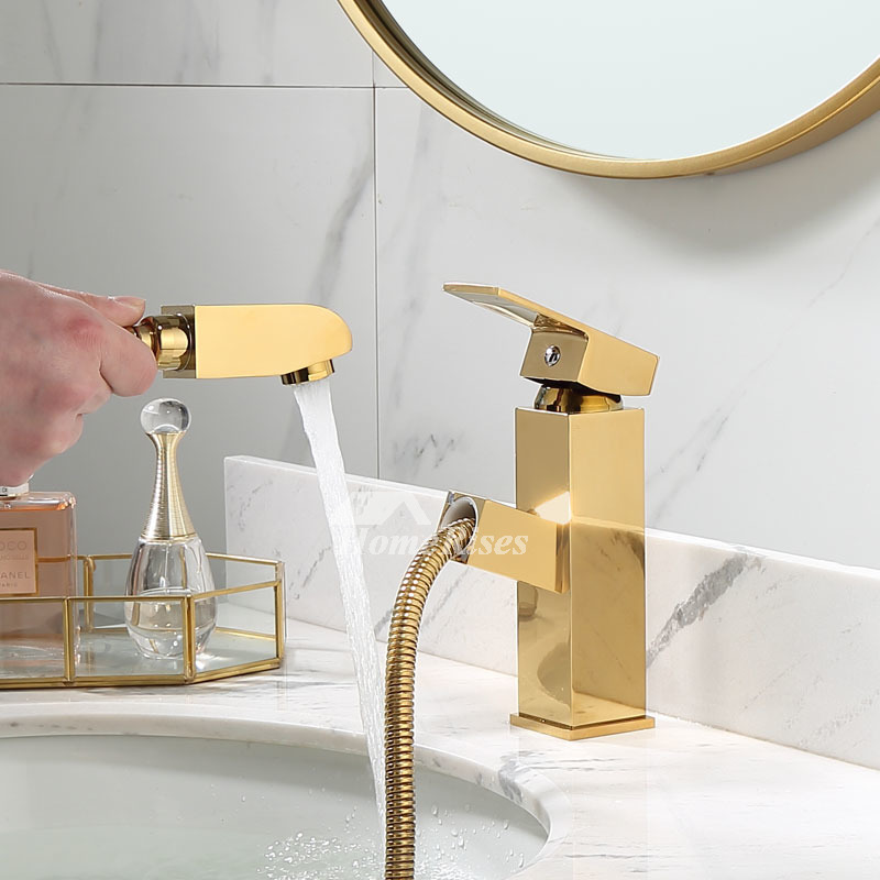 polished brass single handle bathroom faucet vessel sink gold pull out spray widespread one hole