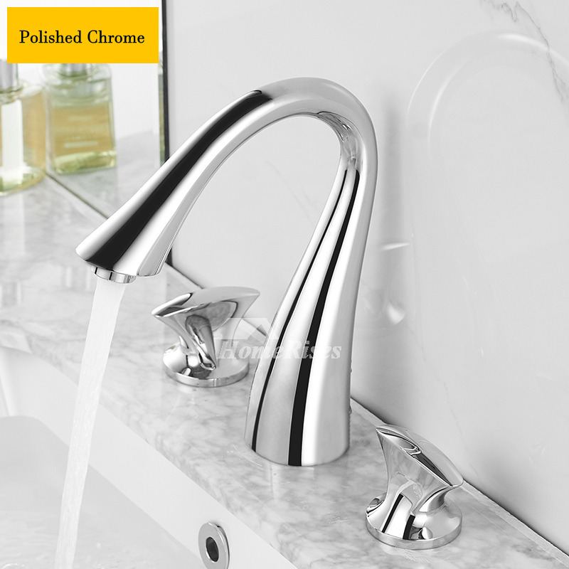 gold black silver swan bathroom faucets 3 hole polished brass oil rubbed bronze chrome sink faucets