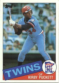 Kirby Puckett pictured on his 1985 Topps Rookie baseball card.