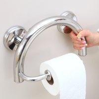 Grabcessories | 2-in-1 Grab Bar Toilet Paper Holder w ...